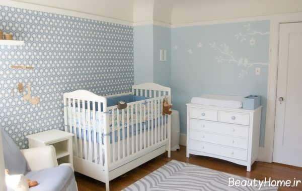 کاغذ دیواری با رنگ آبی برای اتاق نوزاد پسر