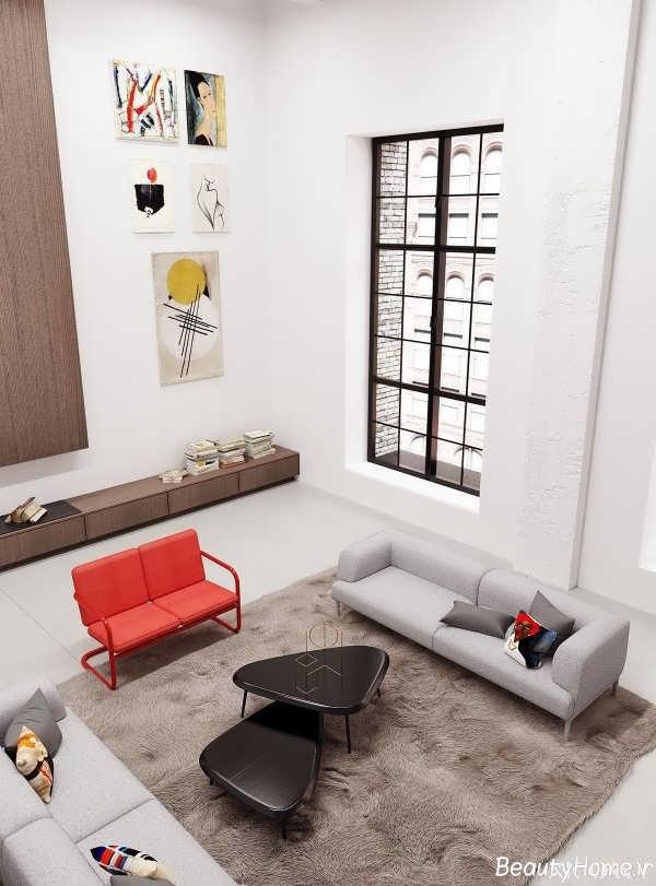طراحی اتاق نشینمن در خانه دوبلکس
