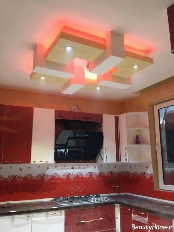 کناف سقف برای آشپزخانه با رنگ و نورپردازی زیبا