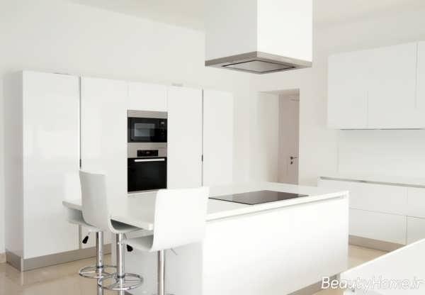 دکوراسیون آشپزخانه اروپایی با رنگ روشن