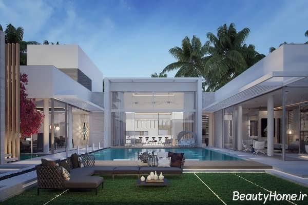 طراحی زیبا حیاط ویلا