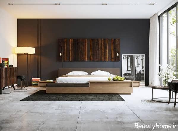 دکوراسیون داخلی اتاق خواب با ترکیب رنگ های تیره