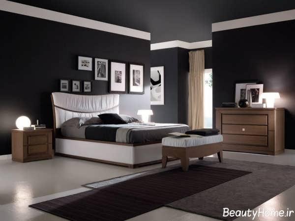 دکوراسیون داخلی اتاق خواب دو نفره با رنگ تیره