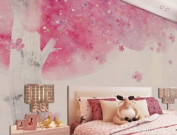 کاغذ دیواری اتاق خواب دخترانه با طرح های زیبا و متنوع