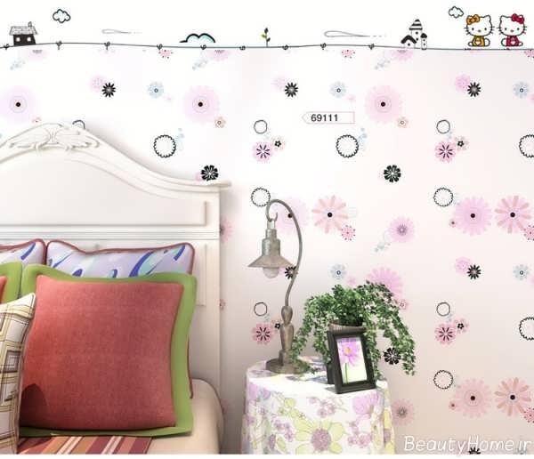 کاغذ دیواری اتاق خواب دخترانه با طرح های عروسکی و زیبا