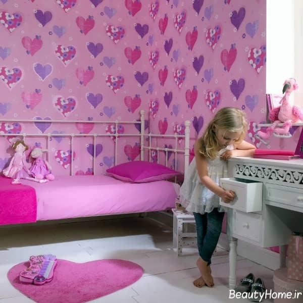 کاغذ دیواری اتاق خواب شیک و متفاوت دخترانه