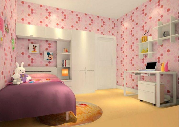 کاغذ دیواری اتاق خواب دخترانه با طرح های زیبا و فانتزی