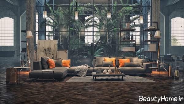 اتاق پذیرایی زیبا و مدرن اروپایی
