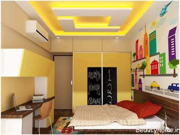 عکس های کناف اتاق کودک جدید و مدرن با طراحی کاربردی