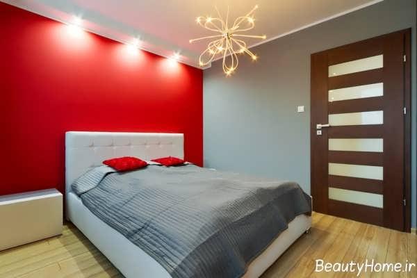 دکوراسیون اتاق خواب با رنگ خاکستری و قرمز