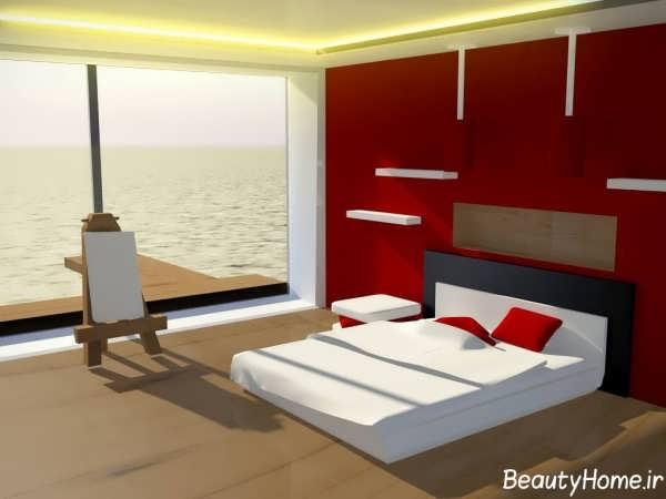 اتاق خواب با ترکیب رنگ سفید و قرمز