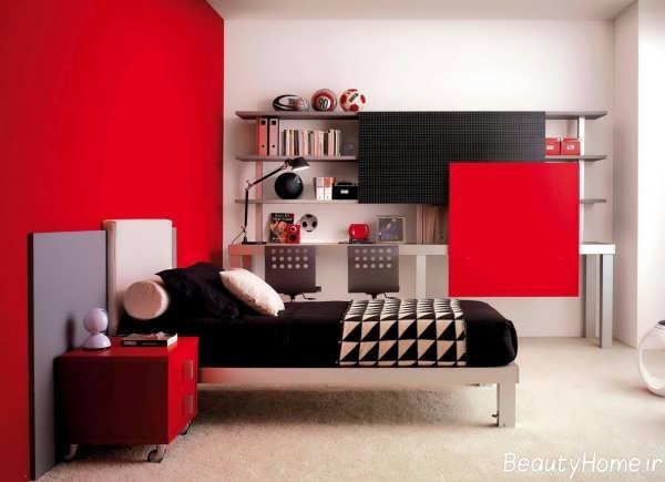 اتاق خواب قرمز با طراحی های زیبا و متنوع
