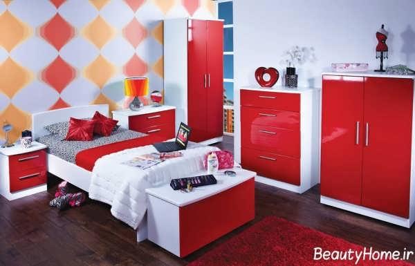 دکوراسیون داخلی اتاق خواب سفید و قرمز