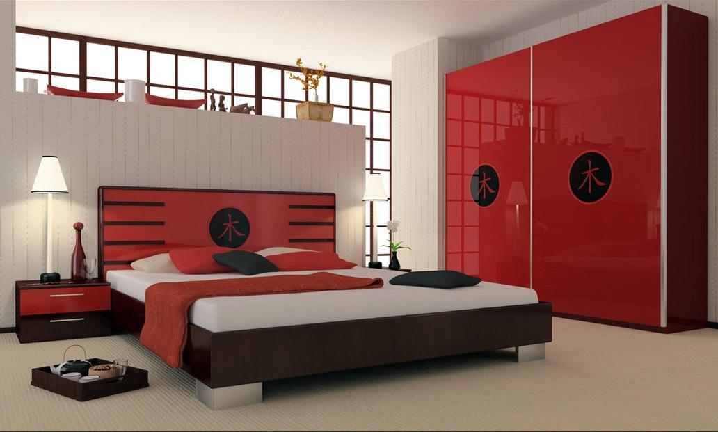 اتاق خواب قرمز با طراحی های زیبا و ایده آل