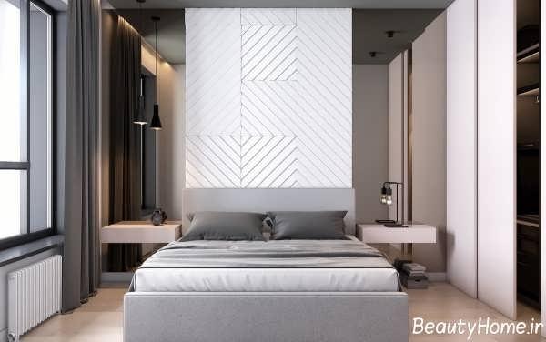 اتاق خواب سفید و خاکستری