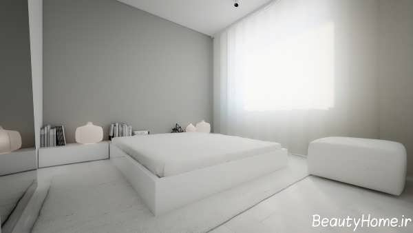دکوراسیون اتاق خواب زیبا با رنگ خاکستری روشن