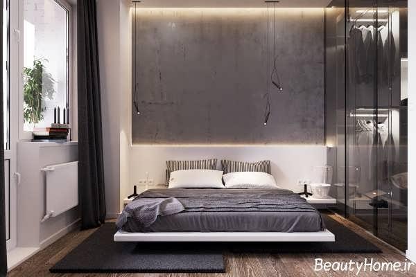 دیازین اتاق خواب با رنگ خاکستری