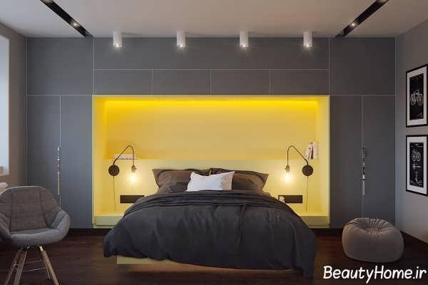 دکوراسیون اتاق خواب های خاکستری با نورپردازی مدرن