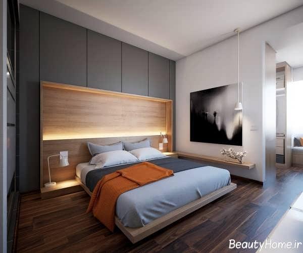 دکوراسیون داخلی اتاق خواب قهوه ای و خاکستری