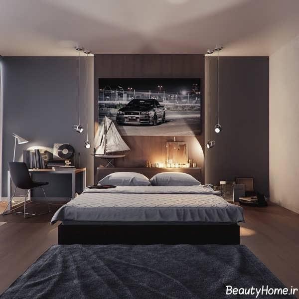 اتاق خواب خاکستری با نورپردازی مدرن