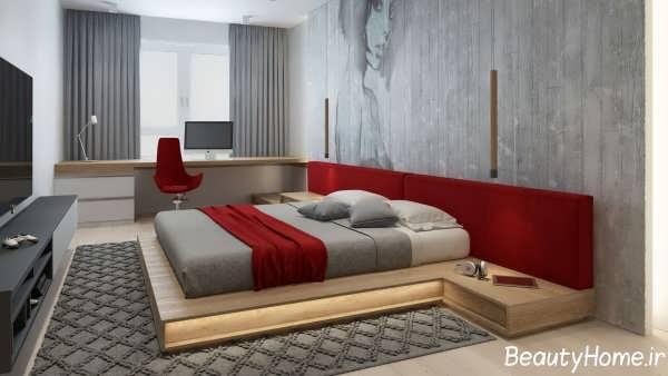 دکوراسیون اتاق خواب قرمز و خاکستری