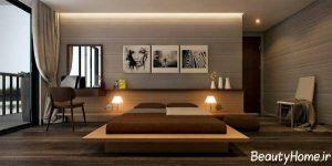اتاق خواب خاکستری و قهوه ای