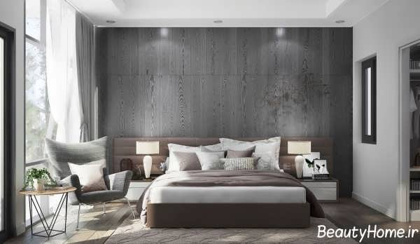 اتاق خواب خاکستری با طراحی داخلی زیبا