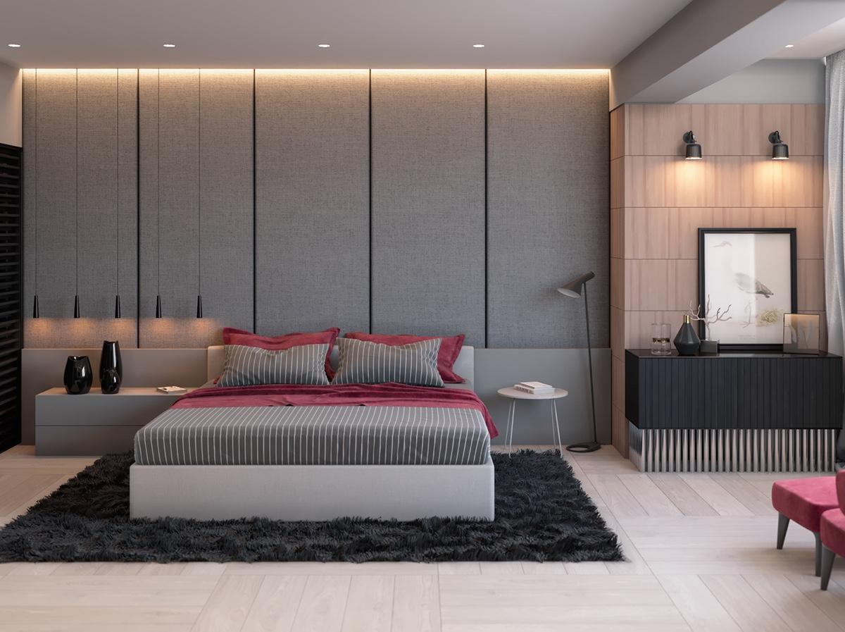 اتاق خواب خاکستری با دکوراسیون داخلی مدرن و زیبا