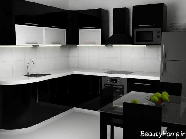 دکوراسیون مدرن آشپزخانه سیاه