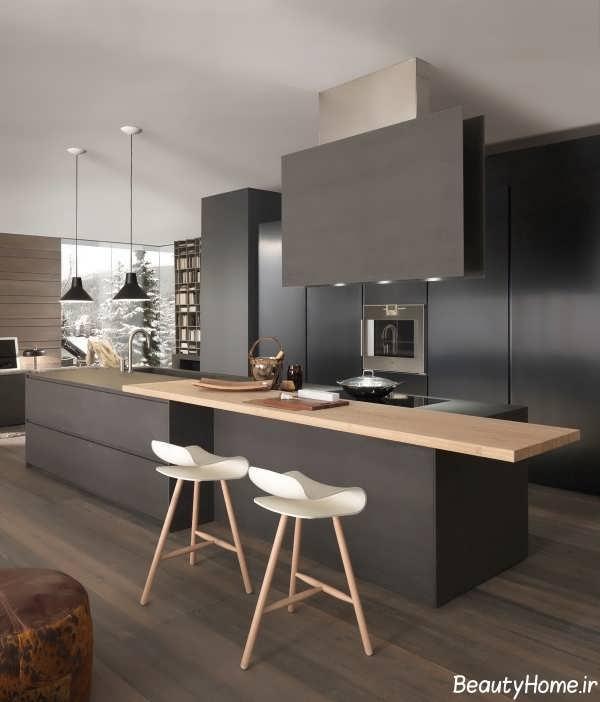 دکوراسیون داخلی آشپزخانه ها با رنگ تیره