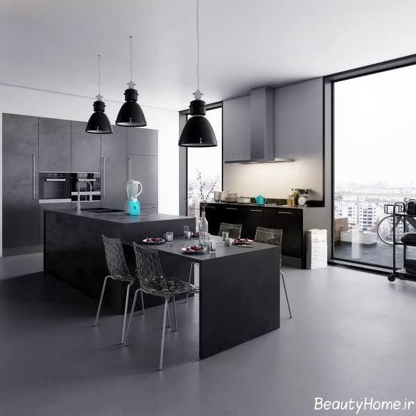 دکوراسیون داخلی زیبا و متفاوت آشپزخانه سیاه