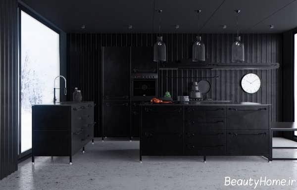 آشپزخانه سیاه با دکوراسیون داخلی مدرن و زیبا