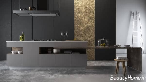 دکوراسیون داخلی آشپزخانه با رنگ تیره