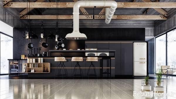 دکوراسیون آشپزخانه سیاه و مدرن