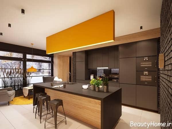 دکوراسیون زیبا و شیک آشپزخانه ها با رنگ تیره