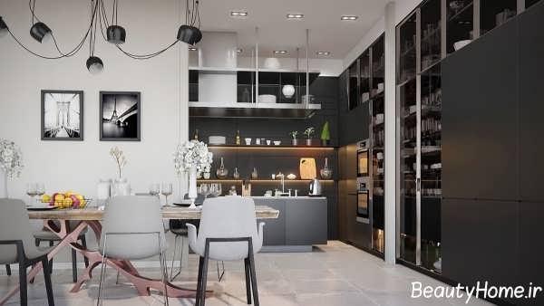 دکوراسیون داخلی زیبا و شیک برای آشپزخانه های سیاه