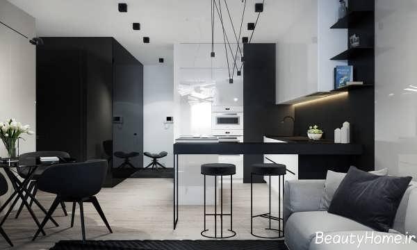 دکوراسیون آشپزخانه با رنگ سیاه