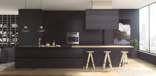 دکوراسیون داخلی آشپزخانه های سیاه
