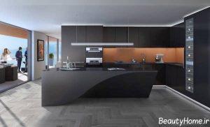 طراحی دکوراسیون آشپزخانه تیره