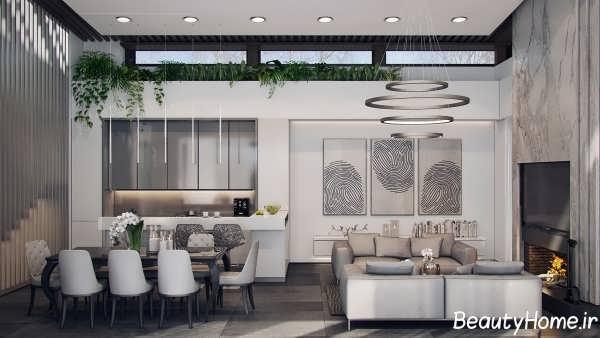 طراحی دکوراسیبون داخلی خانه لوکس با رنگ خاکستری
