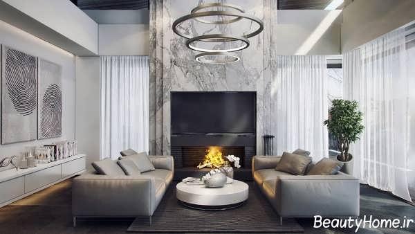 طراحی دکوراسیون داخلی اتاق نشیمن با رنگ خاکستری