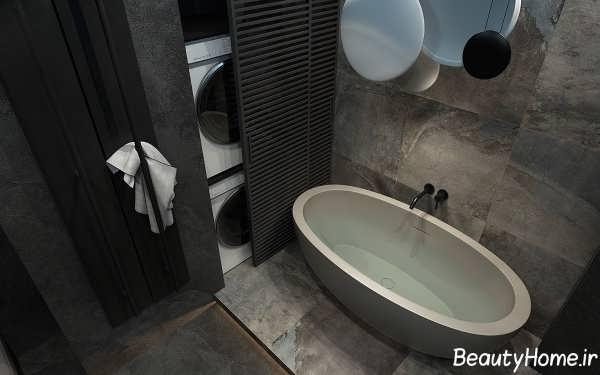 دکوراسیون حمام با رنگ خاکستری