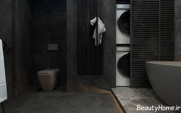 دکوراسیون سرویس بهداشتی با رنگ خاکستری تیره