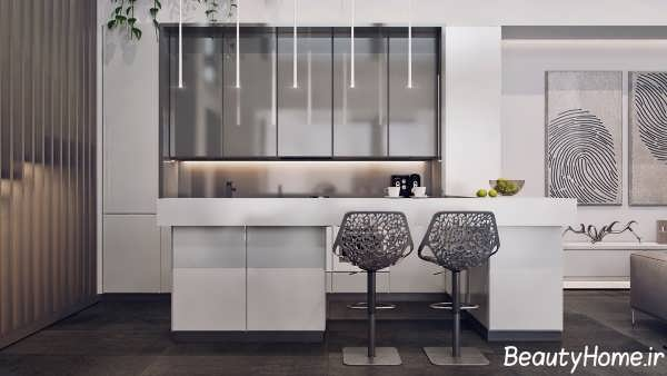 طراحی آشپزخانه با رنگ خاکستری