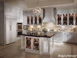 مدل کابینت شیشه ای برای آشپزخانه های لوکس