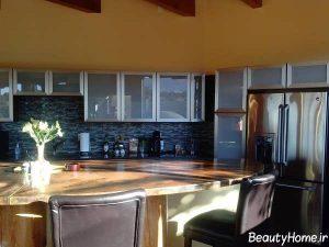 انواع مدل های کابینت شیشه ای برای آشپزخانه های لوکس