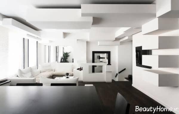 دکوراسیون منزل سفید با طراحی های مدرن و متفاوت