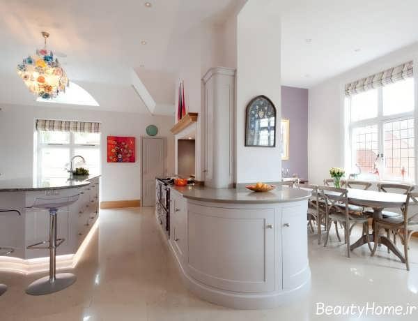 مدل کابینت با رنگ روشن برای آشپزخانه