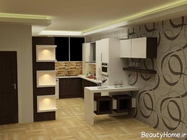مدل آشپزخانه اپن با طراحی زیبا