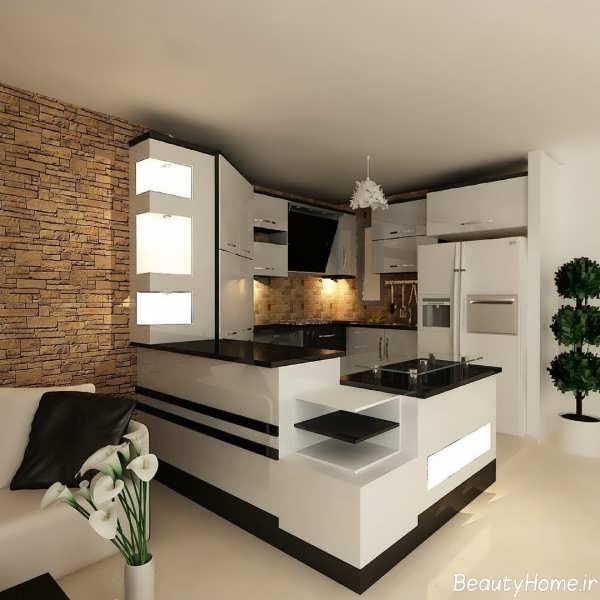 مدل آشپزخانه اپن با طراحی شیک و کاربردی